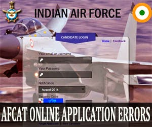 AFCAT online application errors and solutions