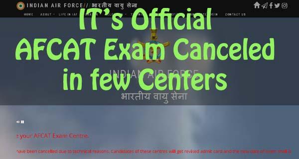 AFCAT 1 2018 exam canceled in few centers