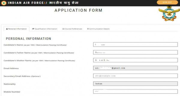 Personal Details page of AFCAT online application