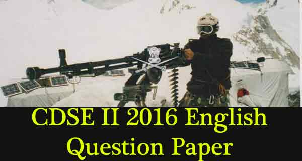 Previous Year CDSE Question Paper - 2 2016 English