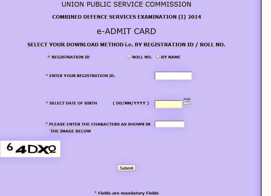 Combined Defence Services Examination I 2014 admit card download