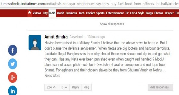 Comment in Times of India in support of BSF jawan