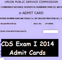 Download CDS exam I 2014 admit card