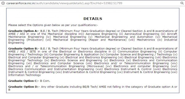 Graduation Options of AFCAT online application
