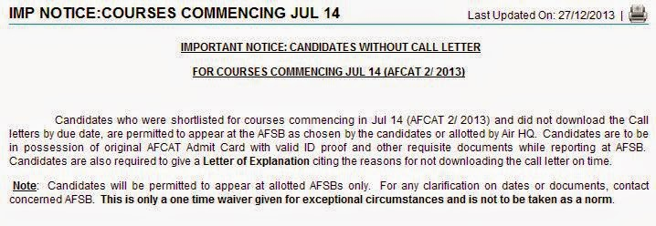 Instructions for AFSB SSB call letter lost candidates