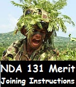 NDA 131 joining instructions and final merit list