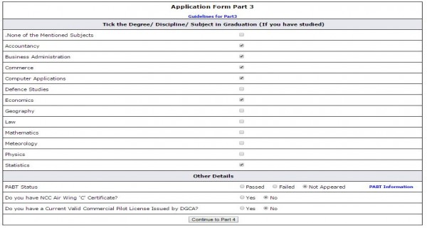 Sample filled up AFCAT application part 3