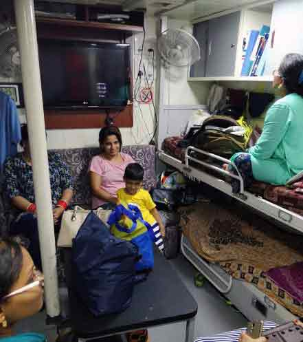 Rescued Tourists taking rest in Indian Naval Ships