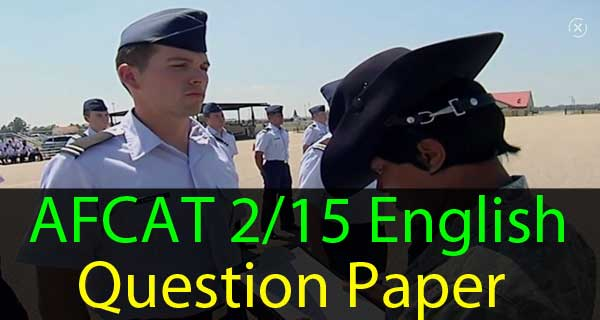 English Questions of AFCAT 2 2015 Exam