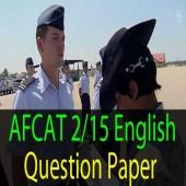 English Questions of AFCAT 2 2015 Exam