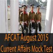 AFCAT August 2015 current affairs question paper