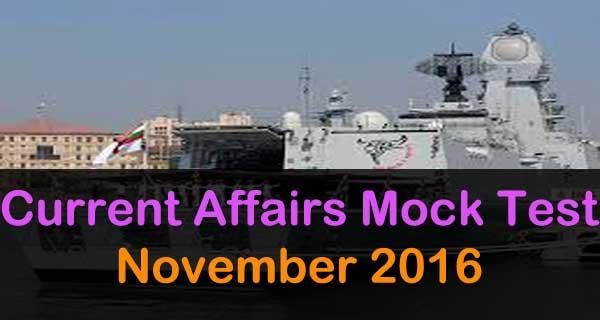 November 2016 current affairs mock test