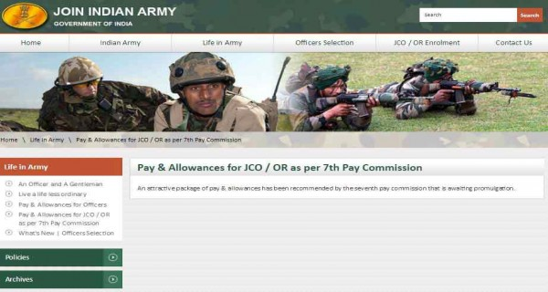 Salary as per Indian Army official website