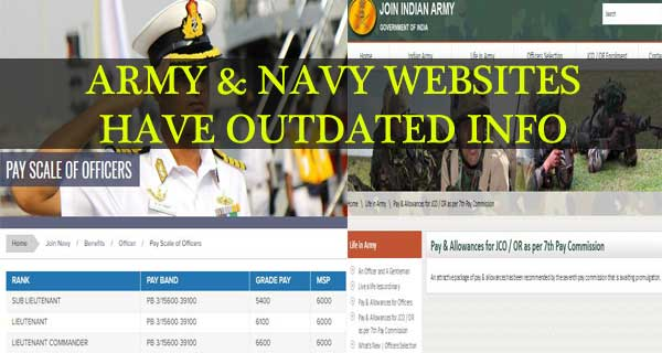 Indian Navy and Army Websites Displaying Outdated Salaries