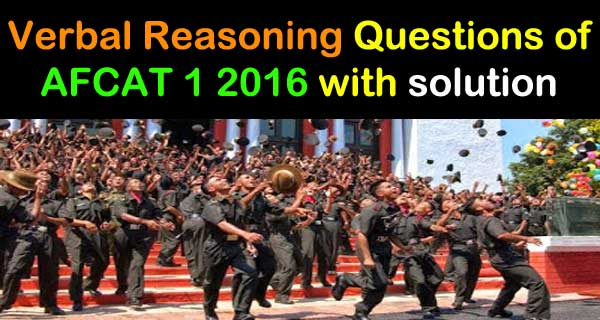 AFCAT 1 2016 Verbal Reasoning Question Paper Set